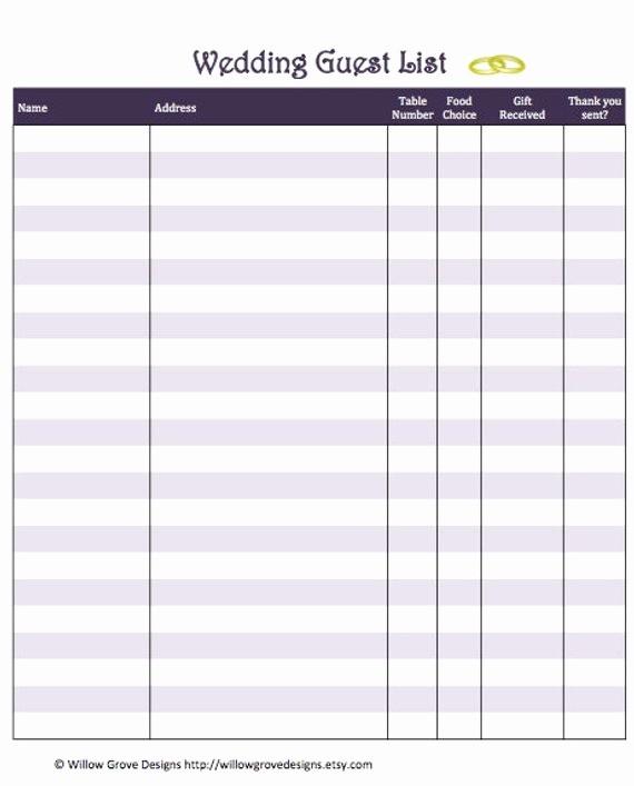 Wedding Guest List Print Out Elegant Items Similar to Wedding Guest List organizer Instant