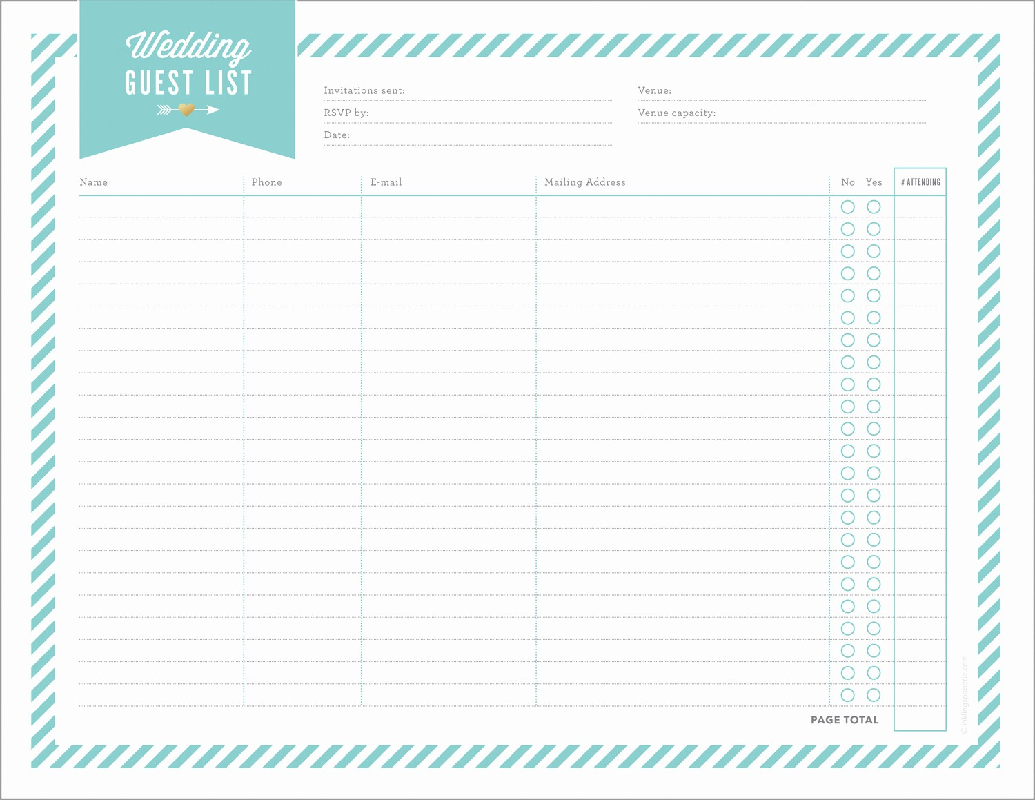 Wedding Guest List Print Out Lovely Free Wedding Planning Printables & Checklists