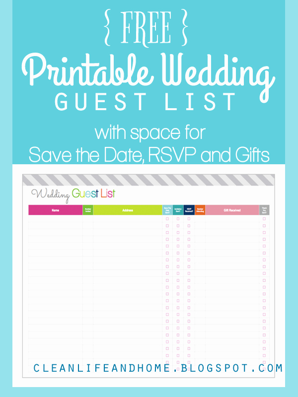 Wedding Guest List Print Out Unique Clean Life and Home Freebie Friday Printable Wedding