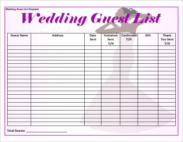 Wedding Guest List Printable Template Awesome Blank Wedding Guest List Template Word