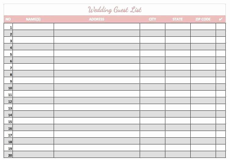 Wedding Guest List Printable Template Beautiful 8 Wedding Guest List Templates Word Excel Pdf formats