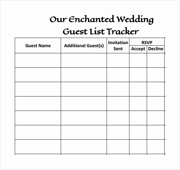 Wedding Guest List Printable Template Best Of 17 Wedding Guest List Templates – Pdf Word Excel