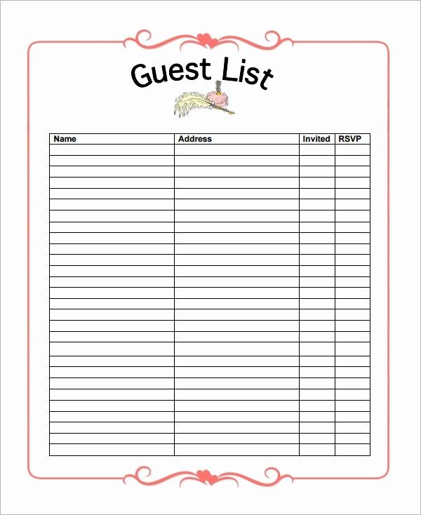 Wedding Guest List Printable Template Elegant 7 Wedding Guest List Samples