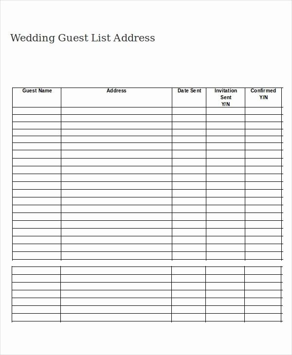 Wedding Guest List Printable Template Elegant Wedding Guest List Template 9 Free Word Excel Pdf