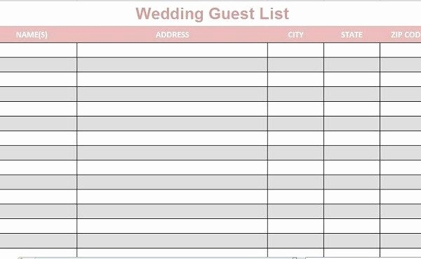 Wedding Guest List Printable Template Elegant Wedding Guest List Template Printable Full Lists Excel 2