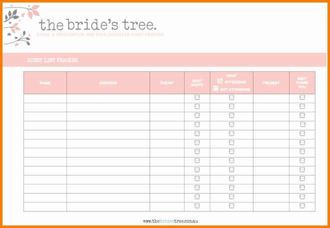 Wedding Guest List Printable Template Fresh 4 Printable Wedding Guest List Template