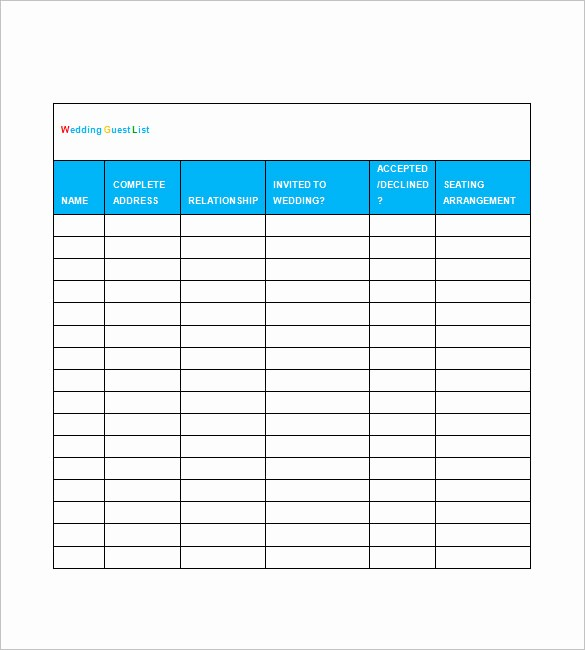 Wedding Guest List Printable Template Fresh Wedding Guest List Template – 10 Free Word Excel Pdf