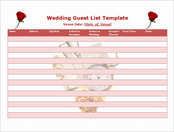 Wedding Guest List Printable Template Inspirational 17 Wedding Guest List Templates – Pdf Word Excel