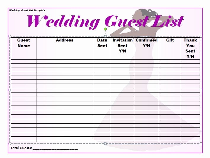 Wedding Guest List Printable Template Inspirational 37 Free Beautiful Wedding Guest List & Itinerary Templates
