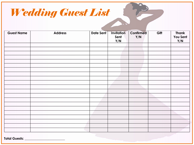 Wedding Guest List Printable Template Lovely Free Wedding Guest List Templates for Word and Excel
