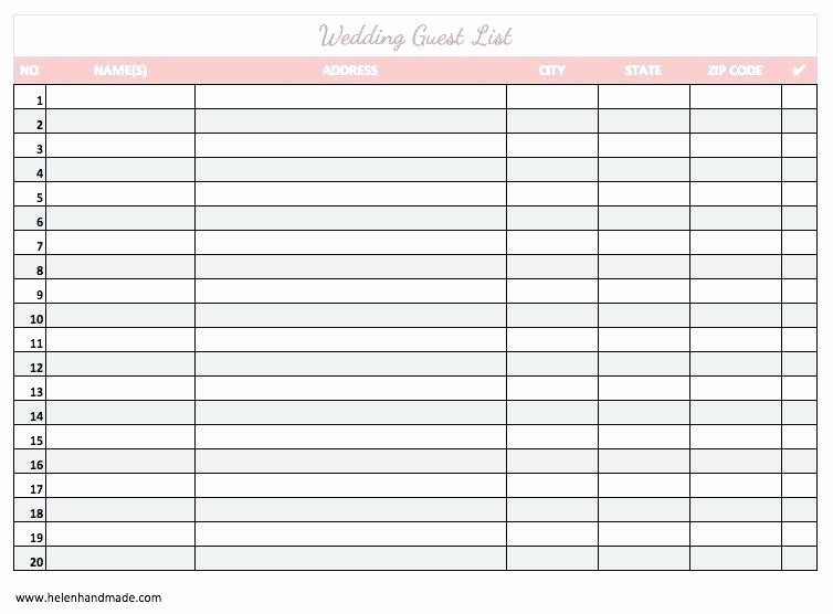 Wedding Guest List Printable Template Luxury Wedding Guest List Excel Template Mac Invitation Checklist