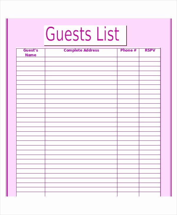 Wedding Guest List Printable Template Luxury Wedding Guest List Template 9 Free Word Excel Pdf