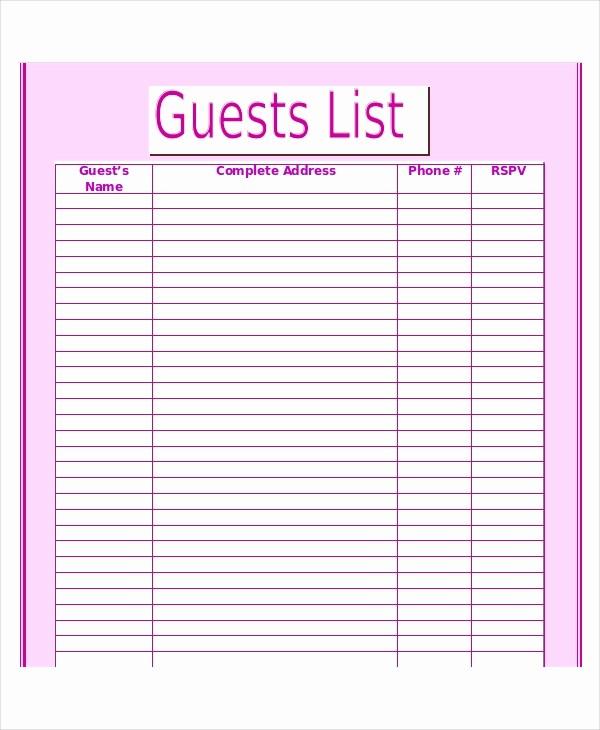 Wedding Guest List Printable Template Luxury Wedding Guest List Template 9 Free Word Excel Pdf