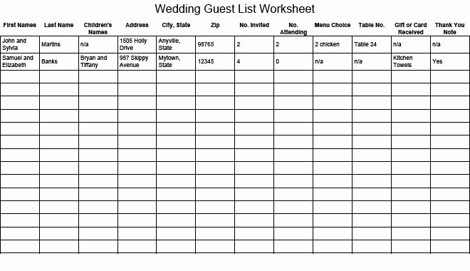 Wedding Guest List Printable Template Luxury Wedding Guest List Worksheet