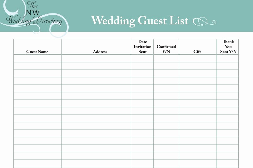 Wedding Guest List Printable Template New 30 Free Wedding Guest List Templates Templatehub