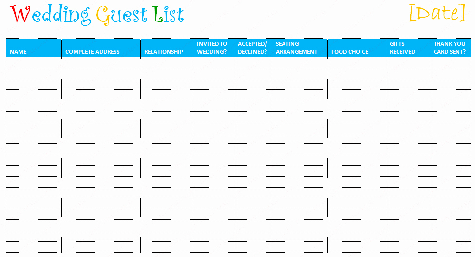 Wedding Guest List Printable Template New Free Editable Wedding Guest List Templates – Document