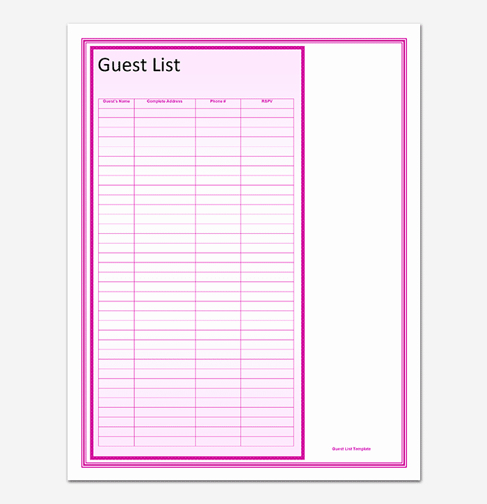 Wedding Guest List Printable Template New Guest List Template 22 for Word Excel Pdf format