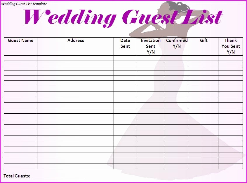 Wedding Guest List Printable Template New Wedding Guest List Template Free formats Excel Word