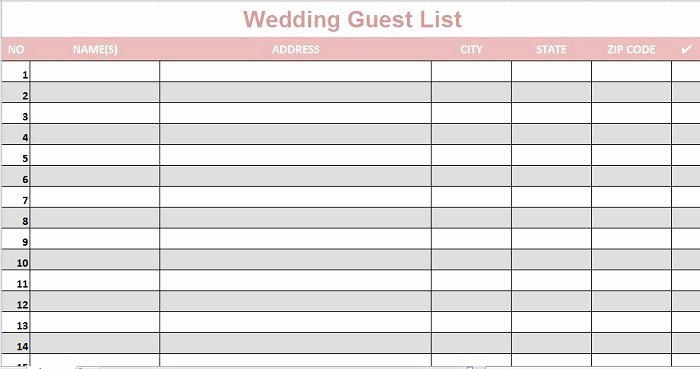 Wedding Guest List Printable Template Unique 35 Beautiful Wedding Guest List & Itinerary Templates