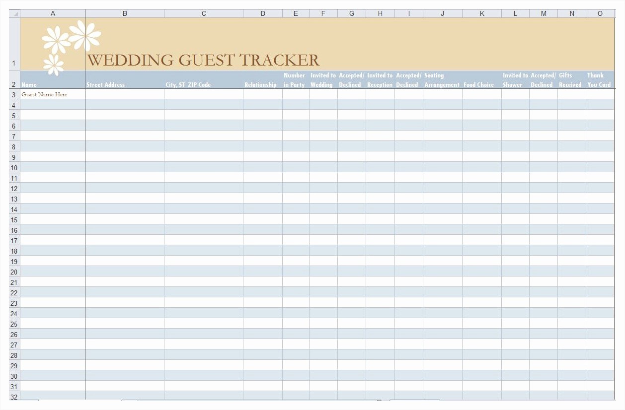 Wedding Guest List Printable Template Unique Address Template Word Example Mughals