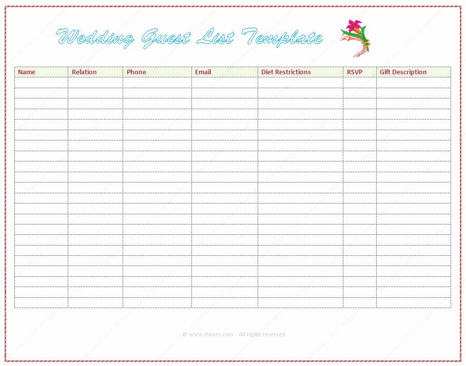 Wedding Guest List Printable Template Unique Wedding Guest List Template Word Dotxes