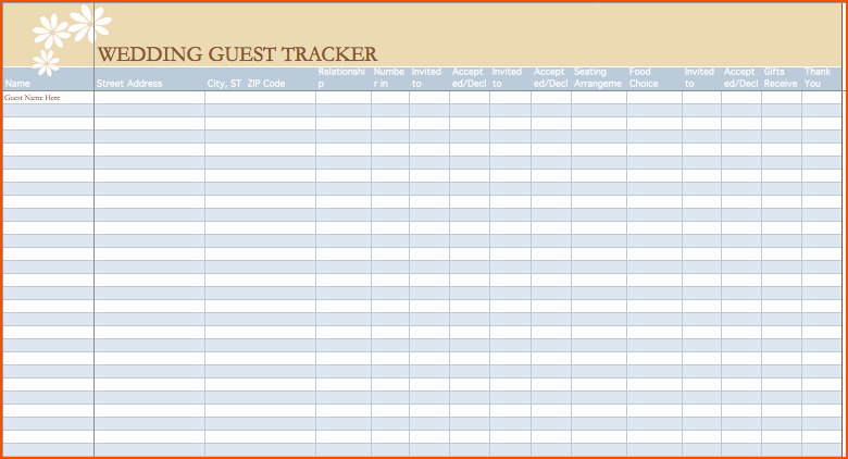 Wedding Guest List Spreadsheet Excel Beautiful 6 Wedding Guest List Template Excel Bookletemplate