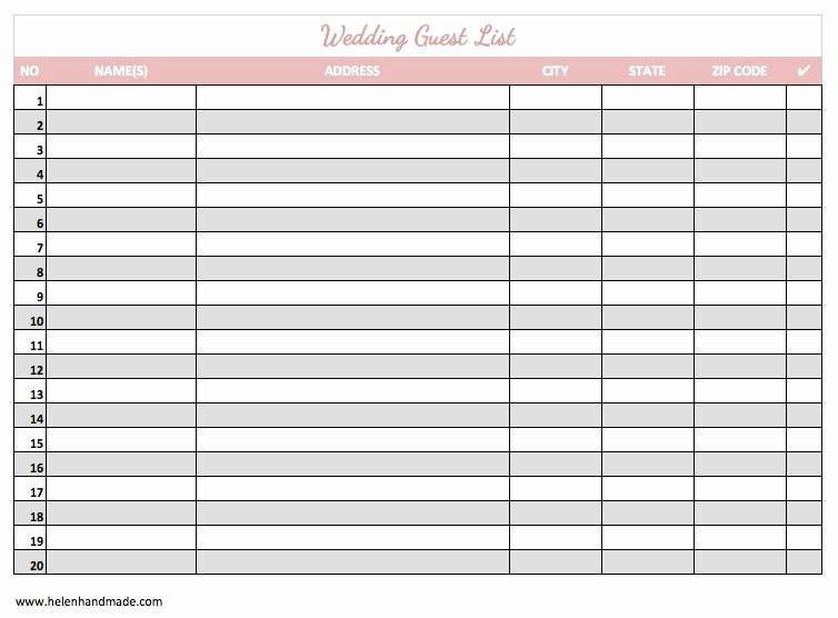 Wedding Guest List Spreadsheet Excel Beautiful Wedding Guest List Excel Spreadsheet as Spreadsheet