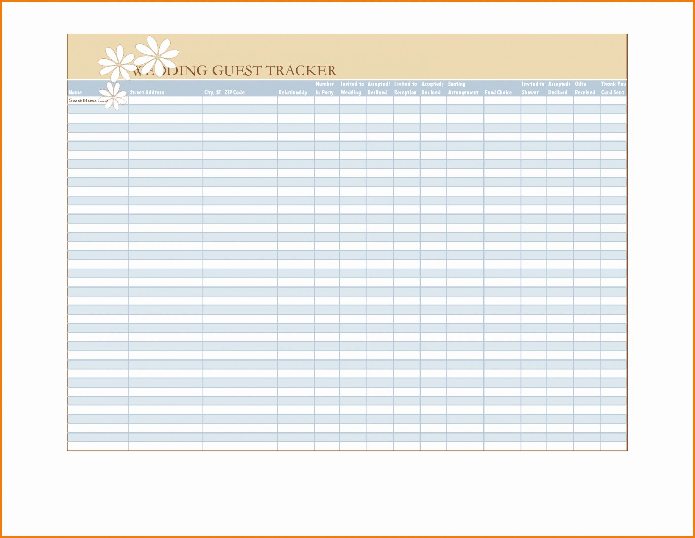 Wedding Guest List Spreadsheet Excel Best Of Downloadable Wedding Guest List Spreadsheet Imzadi