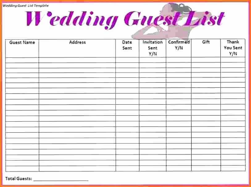 Wedding Guest List Spreadsheet Excel Best Of Wedding Guest List organizer Printable Spreadsheet