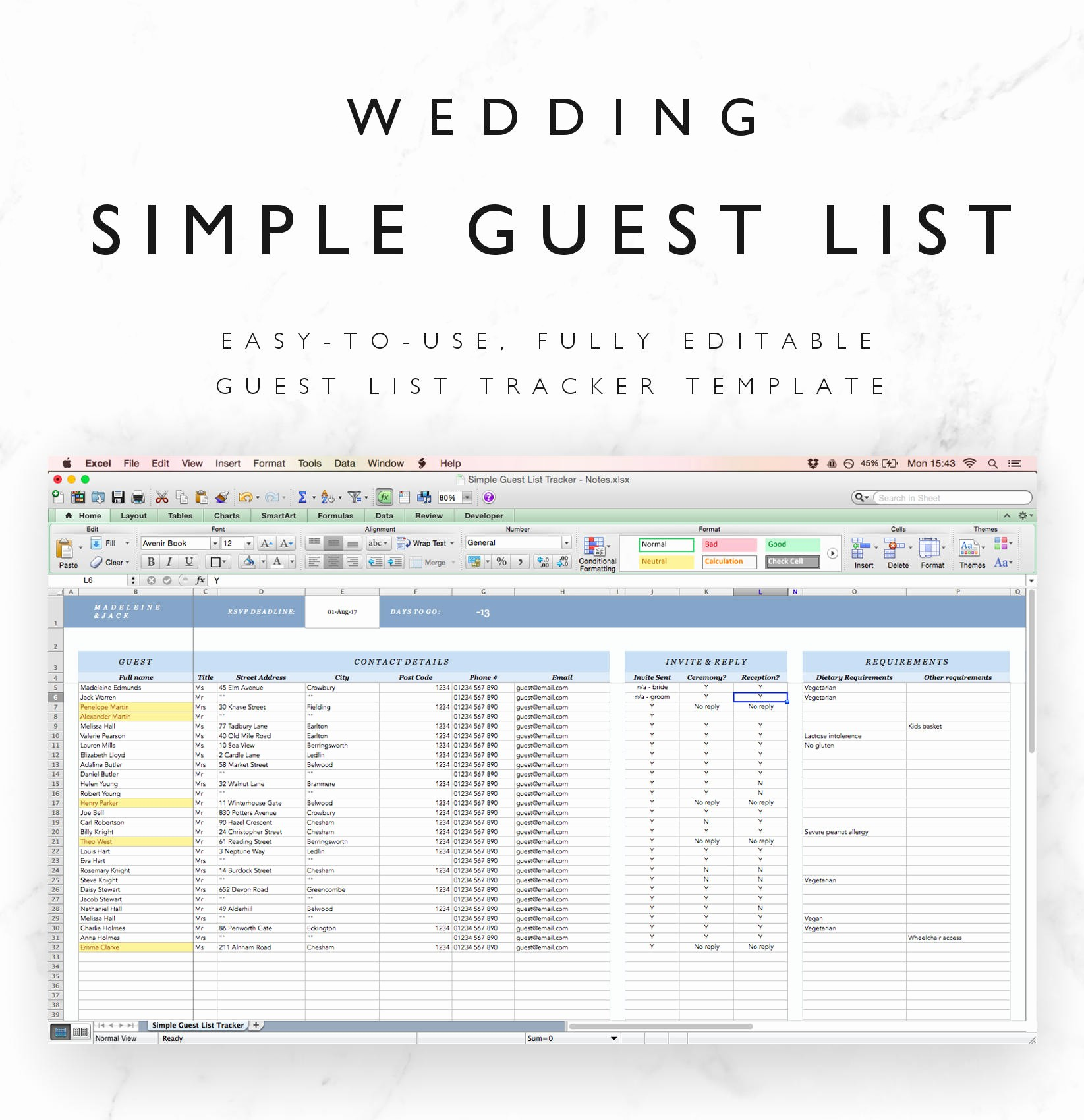 Wedding Guest List Spreadsheet Excel Best Of Wedding Guest List Spreadsheet Wedding Guest List Tracker