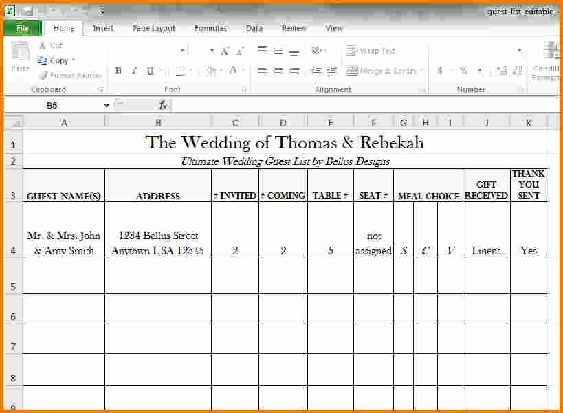 Wedding Guest List Spreadsheet Excel Inspirational 4 Wedding Guest List Excel