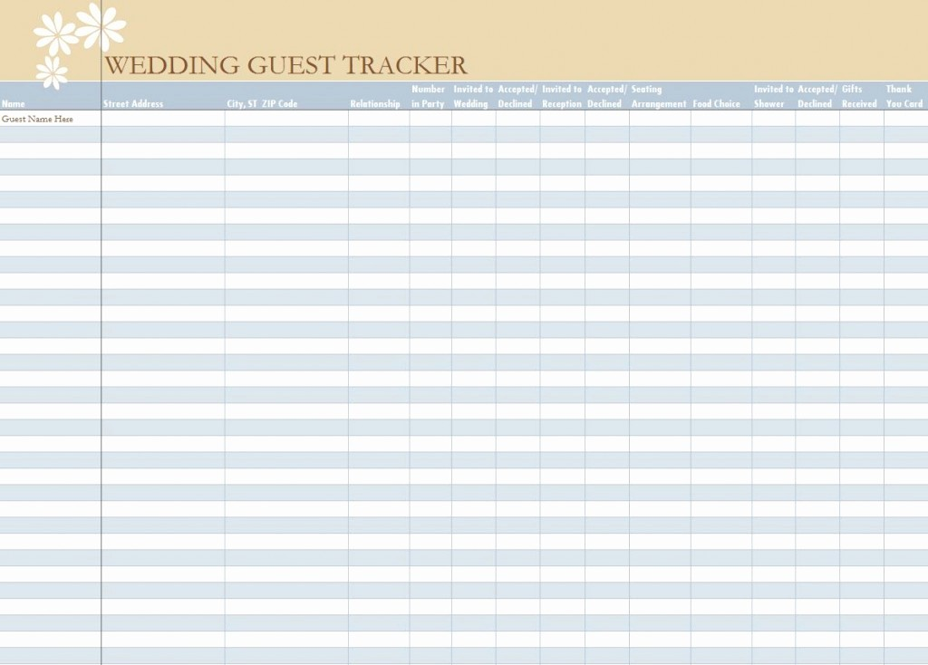 Wedding Guest List Spreadsheet Excel Inspirational Wedding Guest List Spreadsheet