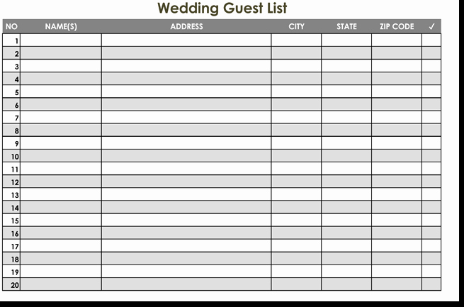 Wedding Guest List Spreadsheet Excel Lovely Free Wedding Guest List Templates for Word and Excel