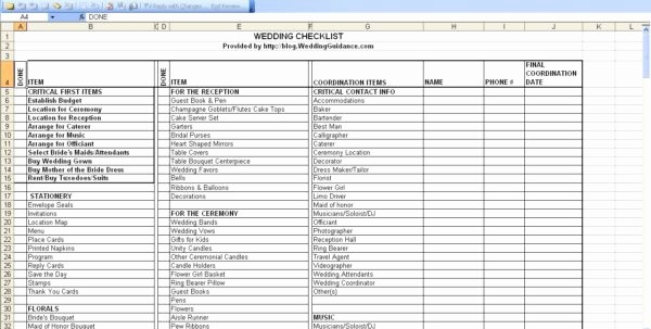 Wedding Guest List Spreadsheet Excel Lovely Wedding Checklist Template Pdf Wedding Spreadsheet