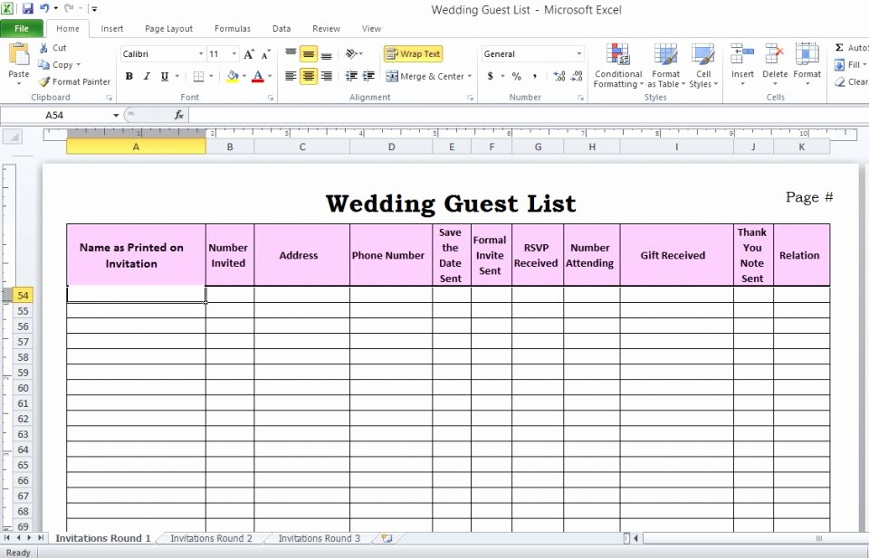 Wedding Guest List Spreadsheet Excel Lovely Wedding Guest List Spreadsheet