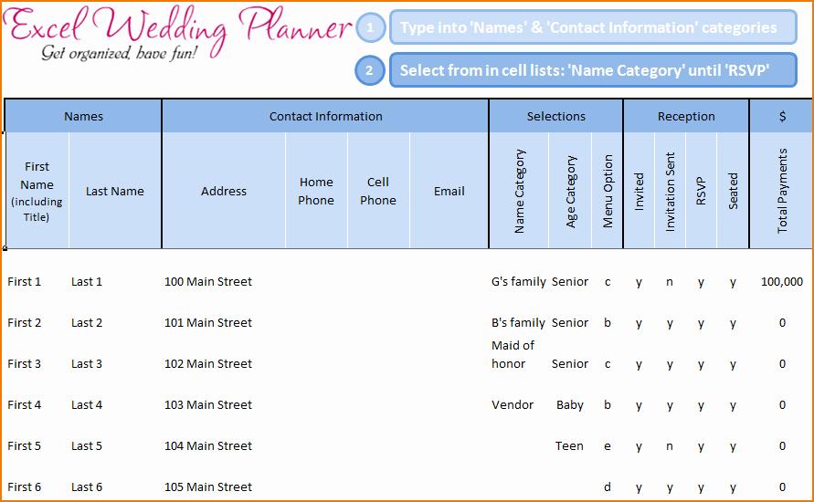 Wedding Guest List Spreadsheet Excel Unique 5 Wedding Guest List Template Excel