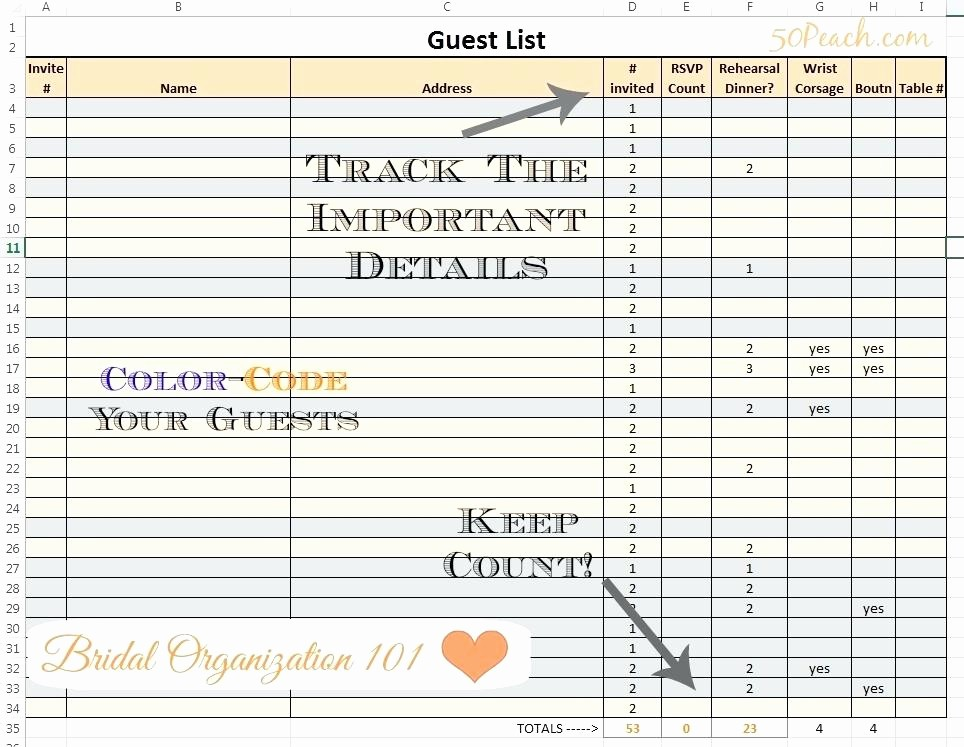 Wedding Guest List Spreadsheet Excel Unique Guest List Template Excel Wedding Spreadsheet and Download