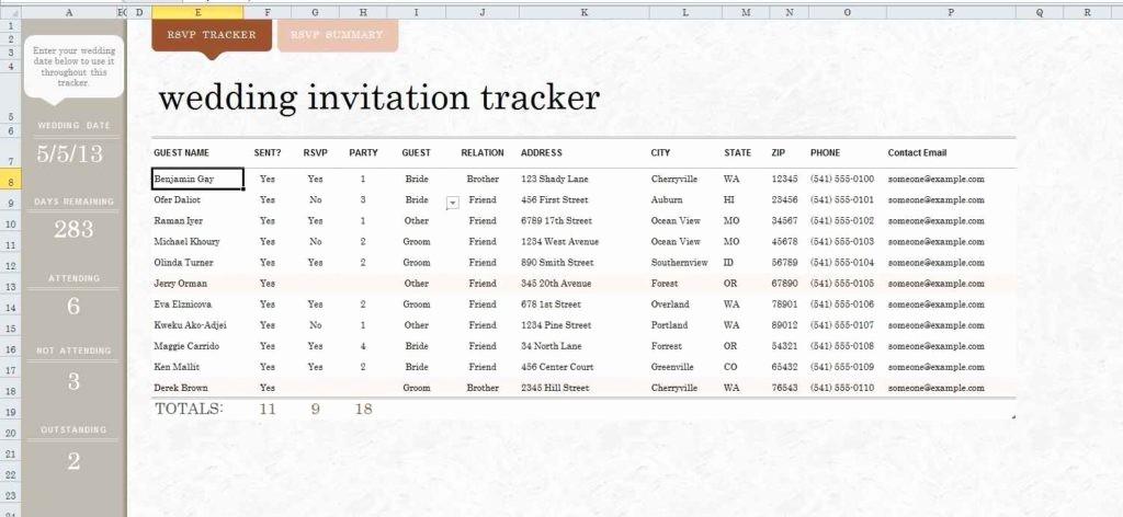 Wedding Guest List Spreadsheet Excel Unique Wedding Guest List Spreadsheet Template Spreadsheet