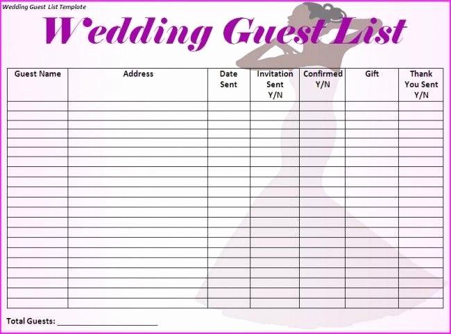 Wedding Guest List Spreadsheet Template Beautiful Wedding Guest List Template I Would Make Just A Few More