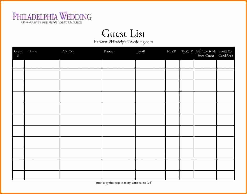 Wedding Guest List Spreadsheet Template Elegant 4 Printable Wedding Guest List Template