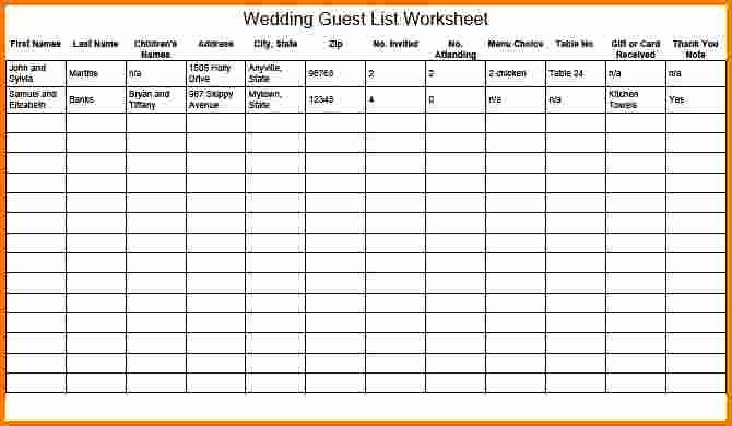 Wedding Guest List Spreadsheet Template Elegant 4 Wedding Guest List Spreadsheet