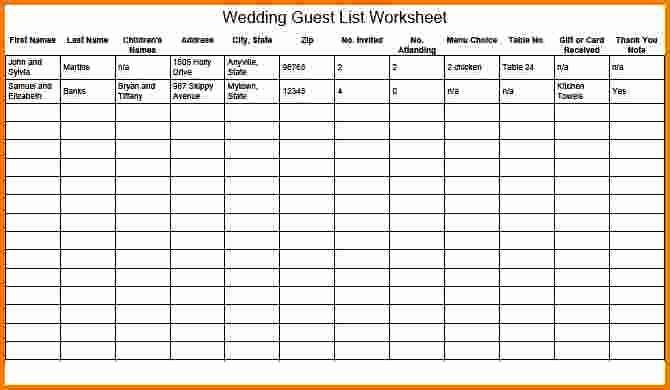 Wedding Guest List Spreadsheet Template Elegant 4 Wedding Guest List Spreadsheet