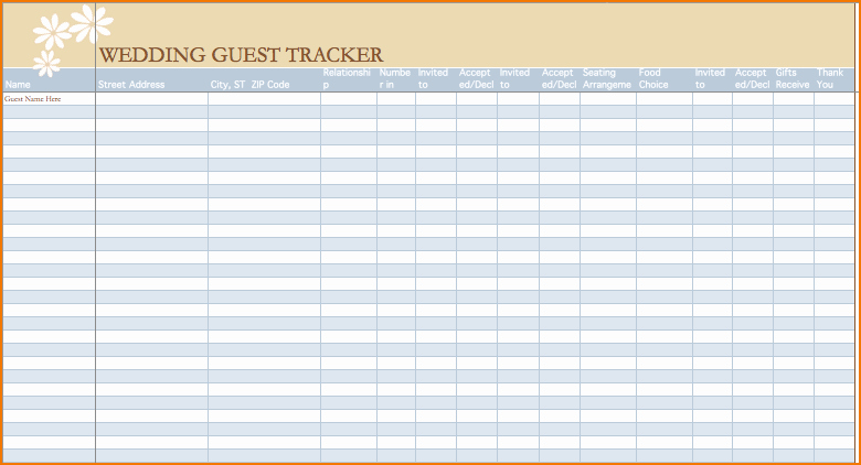 Wedding Guest List Spreadsheet Template Elegant 5 Wedding Guest List Excel
