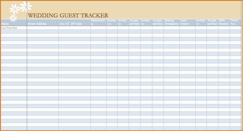 Wedding Guest List Spreadsheet Template Fresh 3 Wedding Guest List Spreadsheet