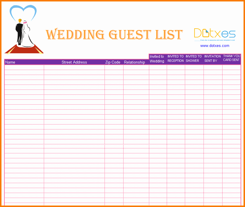 Wedding Guest List Spreadsheet Template Inspirational 3 Wedding Guest List Printable