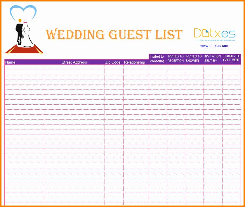 Wedding Guest List Spreadsheet Template Inspirational 3 Wedding Guest List Printable