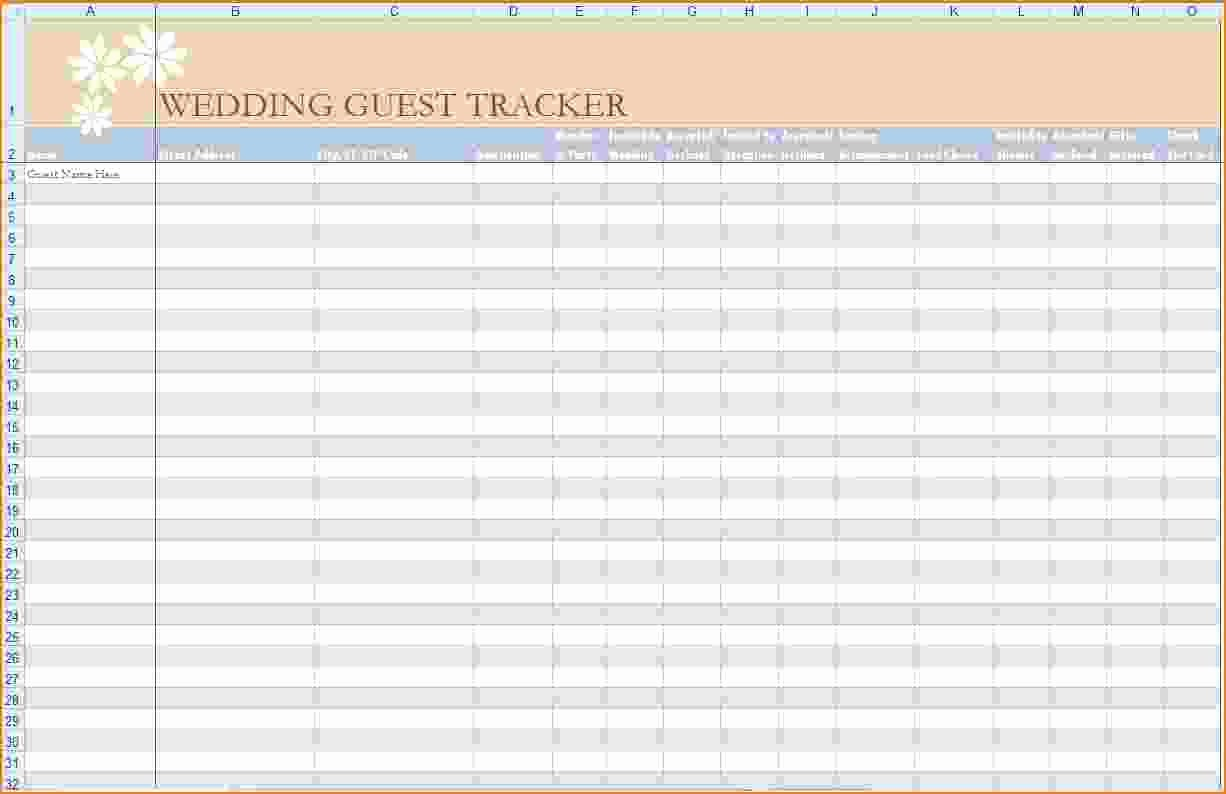 Wedding Guest List Spreadsheet Template Inspirational 5 Wedding Guest List Template Excel