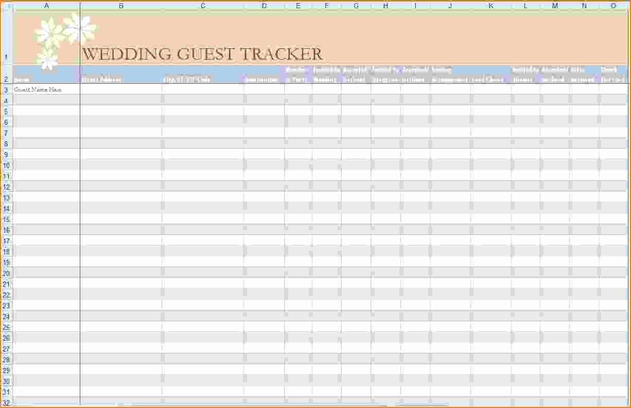 Wedding Guest List Spreadsheet Template Inspirational 5 Wedding Guest List Template Excel