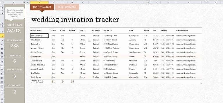Wedding Guest List Spreadsheet Template Inspirational 7 Free Wedding Guest List Templates and Managers