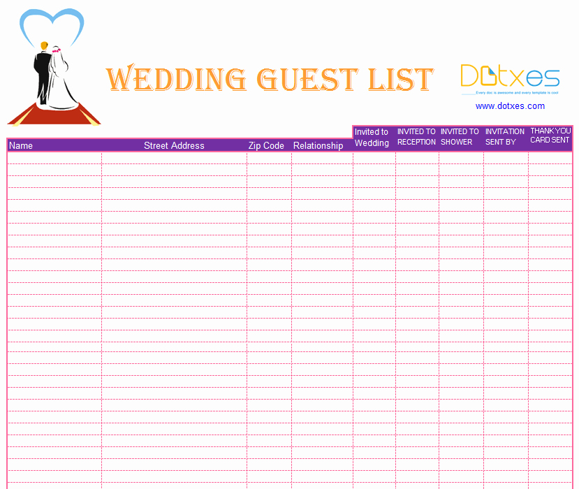 Wedding Guest List Spreadsheet Template Inspirational Blank Wedding Guest List Template Dotxes